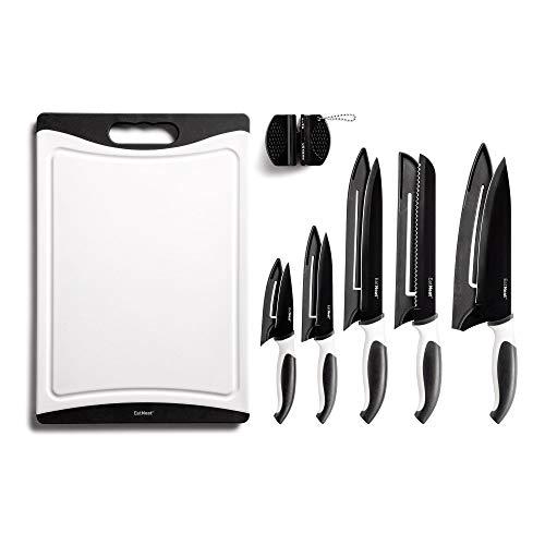 EatNeat 12-Piece Kitchen Knife Set - 5 Black Stainless Steel...