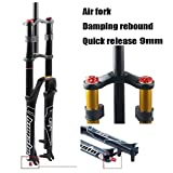MZP MTB Bike Front Fork 26 27.5 29 Inch Double Shoulder Control Downhill Suspension DH Air Pressure Straight Tube Ultralight Bicycle Shock Absorber Rebound Adjust (Color : Black, Size : 26 inch)