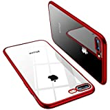 TORRAS Crystal Clear iPhone 8 Plus Case/iPhone 7 Plus Case, [Anti-Yellowing] Soft Silicone TPU Cover Slim Thin Gel Phone Case for iPhone 7 Plus/8 Plus, Red