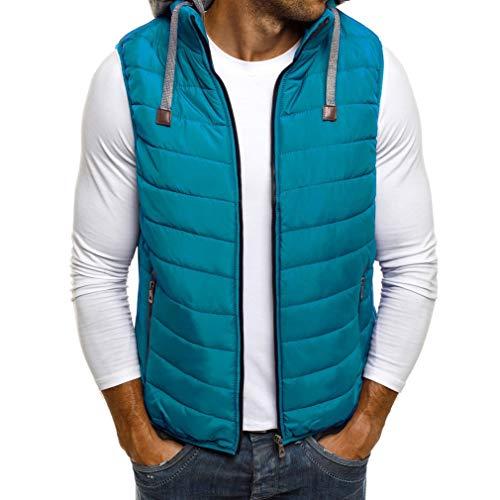 HiiWorld Duck Down Jacket Men Causal Solid Zipper Winter Sleeveless Coat Men Vest Puffer Jacket Men 5 Colors Lake Blue