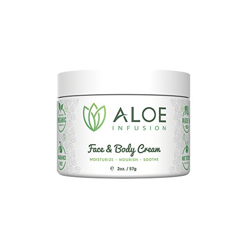 Aloe Infusion Body and Face Moisturizer - Natural Moisturizing Cream with Organic Aloe Vera - Skin Care for Dry Skin, Anti Wrinkle, Acne Scars, Rosacea, Psoriasis Eczema Cream Lotion for Men & Women