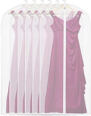 "Waterproof, Dust free, Washable, Reusable, Breathable with Durable Zipper. Translucent, Easy to see through What You Put Inside the Bags. 6 Pack Perfect for Long Dress, Gown, Suit, Long Winter Coat and So on. Size: 24""x60"" Made from PEVA Material. So..."