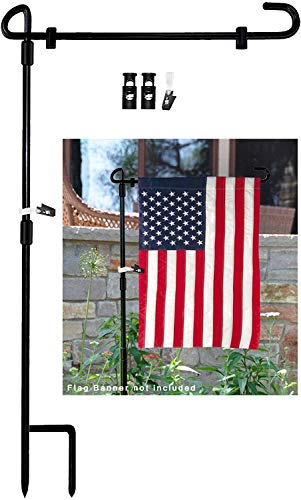 MAXZONE Garden Flag Stand Banner Flagpole, Black Wrought Iron Yard Garden Flag Pole - Holds Flags up to 12.5' in Width for Outdoor Garden Lawn