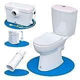 Silent Venus White Upflush Toilet (2-Piece Kit) - Macerating Toilet System with Round-Front Standard Bowl - Powerful Upflush Toilet For Basement (Two-Piece Toilet)