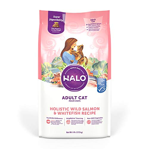 Halo Natural Dry Cat Food - Premium and Holistic Real Whole Meat - Wild Salmon & Whitefish Recipe - 6 Pound Bag - Sustainably Sourced Adult Cat Food - Non-GMO, Highly Digestible, and Made in the USA