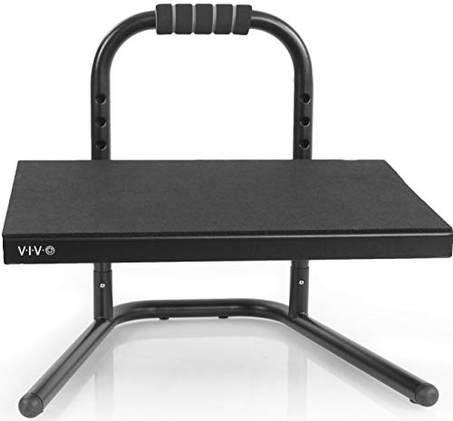 VIVO Black Ergonomic Height Adjustable Standing Foot Rest Relief...