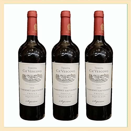 3x Cabernet Sauvignon Friuli doc Superiore Aquileia, cl 75, Tenuta ca' Vescovo, vino rosso, prodotto tipico Italia