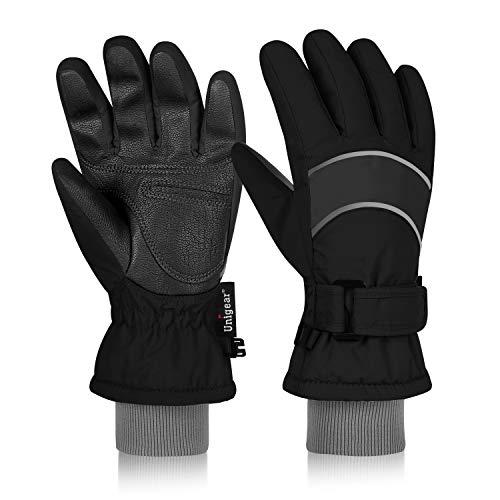 Unigear Kinder Skihandschuhe, Winter Warme Handschuhe Reißfeste Winddicht, mit extra Langen Ärmeln Manschette für Junge und Mädchen