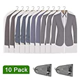 Perber Hanging Garment Bag Lightweight Clear Full Zipper Suit Bags (Set of 10) PEVA Moth-Proof Breathable Dust Cover for Closet Clothes Storage -24'' x 40''/10 Pack