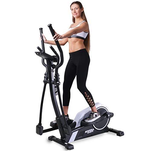 Miweba Sports Crosstrainer MC300 Stepper Ellipsentrainer Heimtrainer - App Steuerung - 21 Kg Schwungmasse - Pulsgurt - Magnetbremse (Weiß Schwarz)