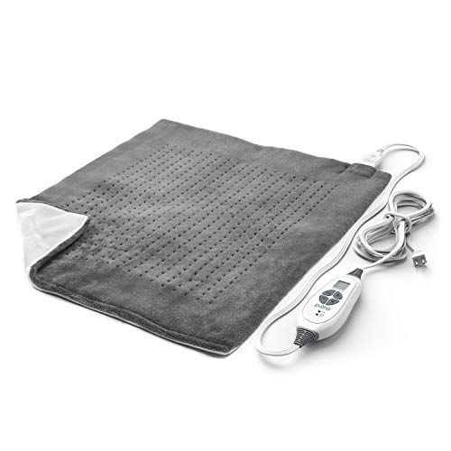Pure Enrichment PureRelief XXL (20'x24') Electric Heating Pad for Back Pain and Cramps - Ultra-Soft with 6 Temperature Settings, Auto Shut-Off, and Moist Heat (Charcoal Gray)