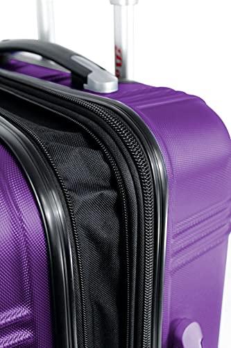 Koffer Reisekoffer mit 4 Zwillingsrollen Dehnungsfuge Doppelreißverschluss Hartschalenkoffer Rollkoffer (M-L-XL) (M, Lila)
