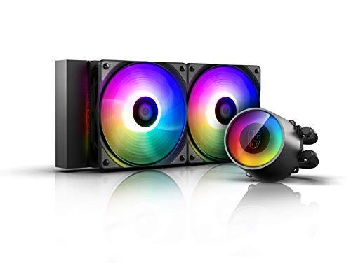 DEEP COOL Castle 240 RGB V2, Sistema di Raffreddamento a Liquido, Radiatore da 240 mm, Due Ventole...