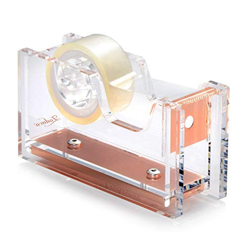 Zodaca Acrylic & Rose Gold Tape Dispenser, Deluxe Clear Office Desktop Tape Dispenser with One Tape [Medium Size] for Tape Below 3/4'