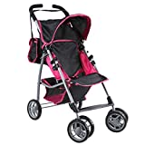 Mommy & Me Baby Doll Stroller Foldable with Swiveling Wheels and Free Carriage Bag for Toddlers, and Little Girls, Hot Pink and Black
