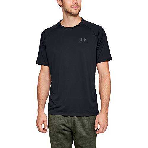 Under Armour Men's Tech 2.0 Shortsleeve Light and Breathable Sports T-Shirt, Gym Clothes with Anti-Odour Technology, Black/Graphite, L