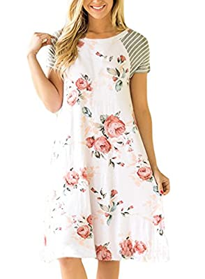 Elegant Floral Print Loose T-Shirt Dresses,You will never out of style when you have this classic dress. Sexy floral knee high dress made of quality high stretch fabric , can cover all body shapes, Show your beauty. Cute boho dresses suitable for bea...
