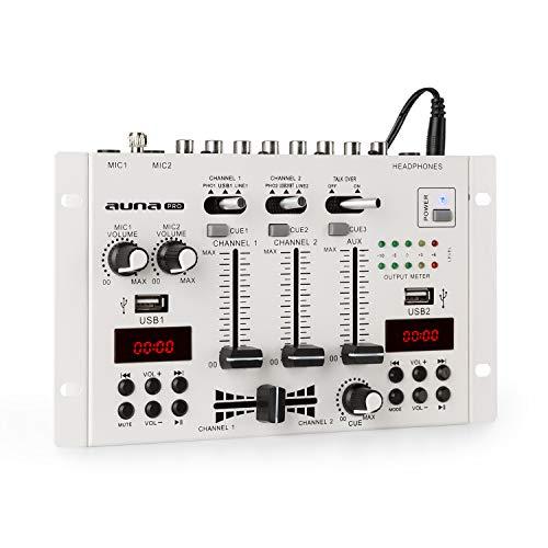 Auna PRO DJ-22BT MKII - Mixer Consolle Dj, 3/2-Canali, Bluetooth, 2 x USB, 2 Display, Ingressi e Uscite RCA, 3 x Jack per Cuffie da 6.3 e 2 Microfoni, Nero