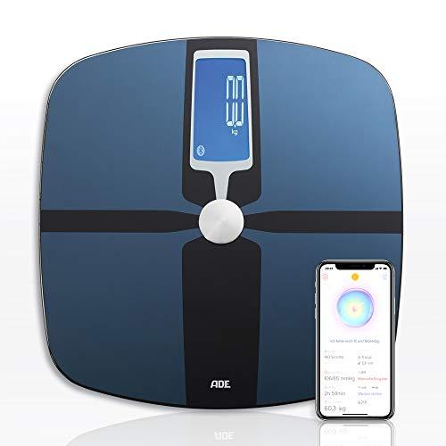 ADE Körperfettwaage BA 1600 FITvigo (Personenwaage mit App, Bluetooth zur Analyse von Gewicht, Körperfett, Körperwasser, Muskelmasse, BMI) blau