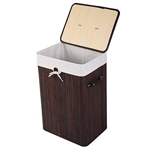 GOFLAME Wäschekorb aus Bambus, tragbar, mit Deckel und herausnehmbarem Einsatz, großer Aufbewahrungskorb mit Griffen, geeignet für Schlafzimmer, Badezimmer, Kinderzimmer (braun)