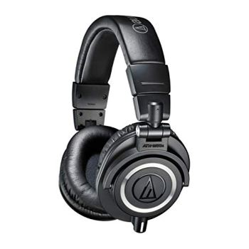 Audio-Technica ATH-M50X Studio Headphones Bundle with Knox Gear Wooden Stand and Protective Case (3 Items)