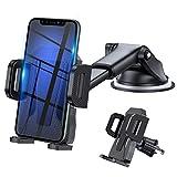 3en1 Support Telephone Voiture, Porte Téléphone Voiture Grille aération Pare Brise Tableau de Bord par Ventouse Compatible avec Smartphone iPhone 6 7 8 X XR...