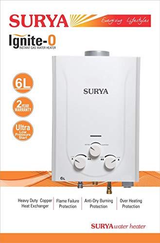 SURYA ROSHANI Ignite-O Gas Water Geyser (6 L, White)