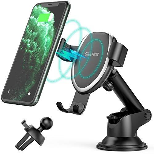 7.5W/10W Wireless Charger Auto,CHOETECH Qi Auto Handyhalterung Lüftung Kfz Induktive Ladestation Schnellladegerät für iPhone 11/11Pro/XR/XS/X/8,Galaxy Note 10/S10/Note 9/S9/S8,5W für Huawei Mate30Pro
