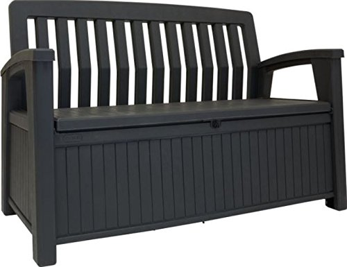 Keter Cassapanca Patio Bench Banca In Resina, 227 Litri, 132.7X 63.5 X 89.5 Cm, Graffite