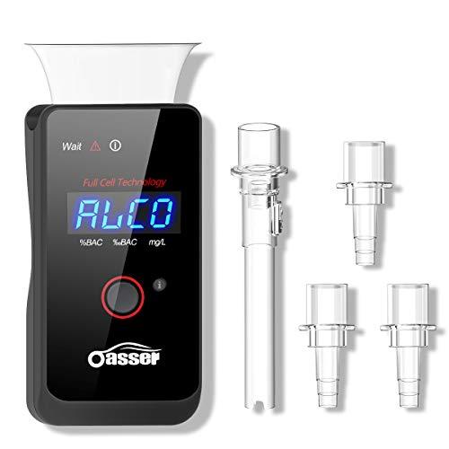 oasser Alcoholímetro Profesional Electroquímico Respiratorio de Recargable Digital Pantalla LED Incluye Batería de Litio & 4 Boquillas Desechables FDA T3
