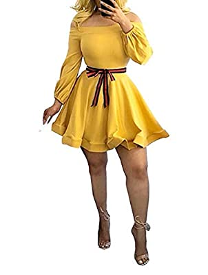 Sexy strapless tunic slim fit evening flared flowy mini party dresses with belt Fabric material: Made of venetian fabric and polyester Perfect for casual and party wear. It could be worn for daily, night club, evening, work, cocktail, holiday and out...