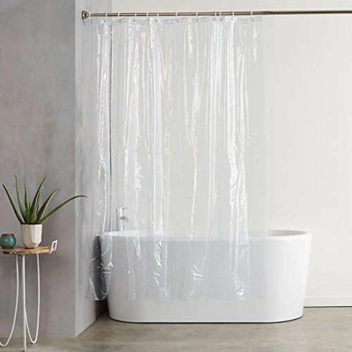 Amazon Basics Water Resistant Vinyl Shower Curtain Liner with Metal...