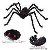 AOJOYS Halloween Scary Giant Spider 6.6 Ft. 200cm Fake Large Black Hairy Spider Props for Outdoor Decor & Yard Decorations