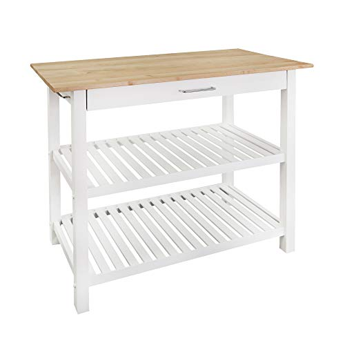 Casual Home Kitchen Island with Solid American Hardwood Top, Natural/White, 40' W (373-91)