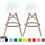 2xhome - Set of Two (2) - White - 28' Seat Height Stool Style DSW Molded Plastic Bar Stool Modern Barstool Counter Stools with Backs and armless Natural Legs Wood Eiffel Legs