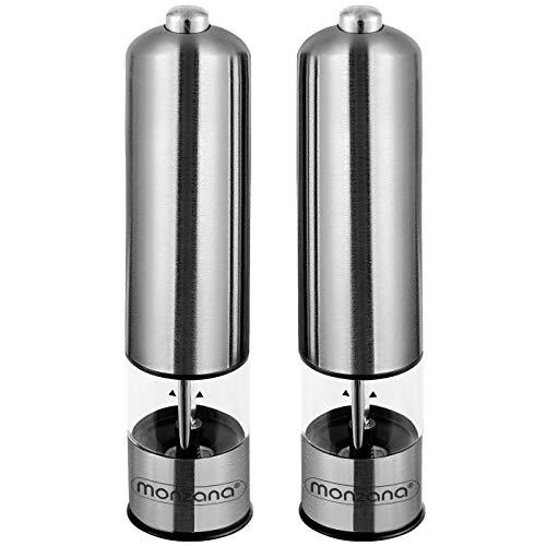 Monzana - Elektrische Salz und Pfeffermühle 2er Set verstellbares Keramikmahlwerk LED Licht Edelstahl Gewürzmühle Pfeffer Mühle