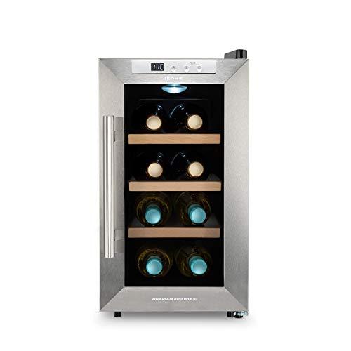 IKOHS WINECOOLER WOOD S Cantinetta vino con 8 bottiglie, 23 l, 60 W, luce LED, display digitale, 3 ripiani, doppio isolamento, zone di temperatura da 8-18 gradi