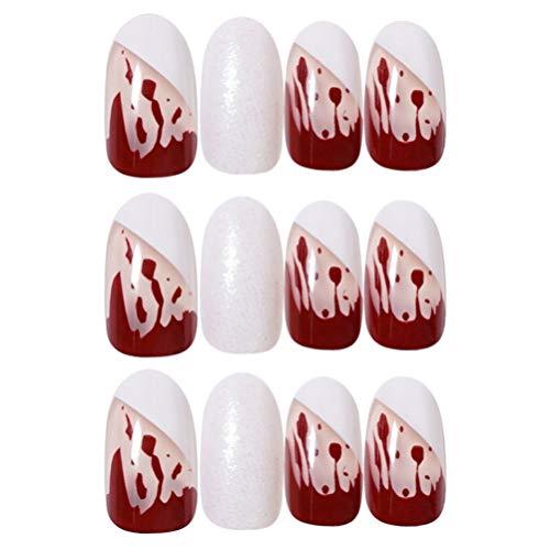 Beaupretty 24pcs Halloween Matte False Nails Artificial Short Nails Blood Drip Nails Coffin Acrylic Nail Tips Full Cover Fingernails Nail Art Supply (Bloody)