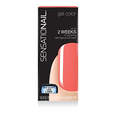 "SensatioNail Gel Nail Polish,""Coral Sunset"" Red Gel Nail Polish, 0.25 Fl oz (Pack of 2)"