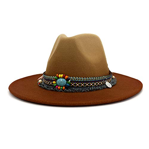 Cappello fedora in stile vintage, unisex, in feltro, a tesa larga con fibbia - marrone - Taglia unica