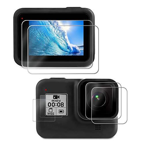 Deyard Pellicola Protettiva per GoPro Hero 8, 4 Pezzi in Vetro Temperato Ultra Trasparente + 2 Pellicole Protettive HD per GoPro Hero 8 Black