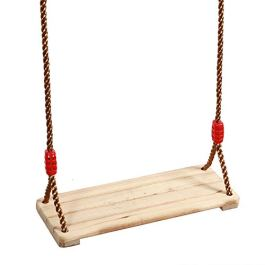KINJOEK 15.8 x 6.3 Wooden Swing, Hanging Wooden Tree Swings Seat Adjustable 48 to 83 Inches Cable, 220 lbs Capacity Birch Wood Durable, Sturdy Swings for Adult Kids Children Garden, Yard, Indoor Use