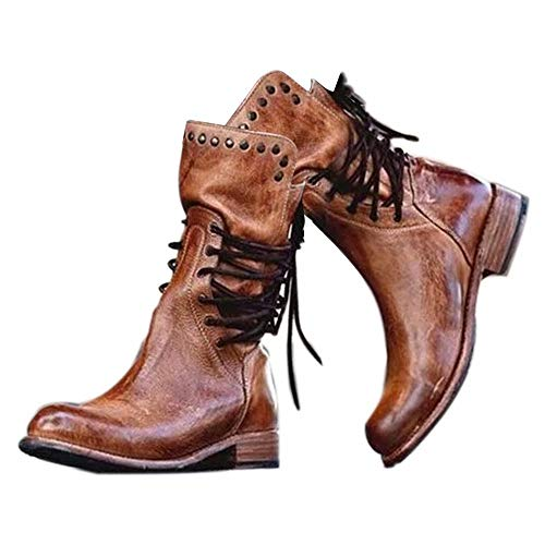 Damen Reitstiefel Damen Hof Reitgurt Schuhe Niedrige Ferse Kampf Military Fashion Winter Mid Lether Stiefel