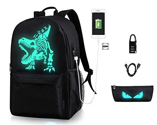 Anime Anti-theft Backpack, Luminous School Bag, Waterproof Laptop Backpack with USB Charging Port, Unisex 15.6 Inch College DaypackT-Rex Dinosaur