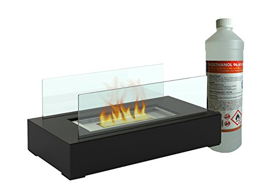 Decorative table fireplace / glass fireplace incl. 1L bio ethanol Table Lamp for a cosy atmosphere