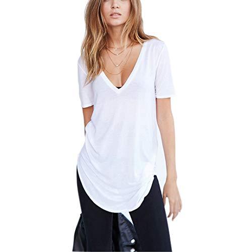 Germinate Lunghe Profondo Scollo a V T Shirts Donna Estate Bianco Nero Sexy Cotone Tuniche Magliette Maglie Oversize Taglie Forti (Bianco, M)