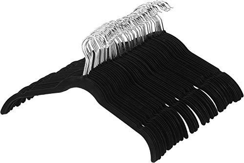AmazonBasics Velvet Clothing Hangers - 50-Pack, Black - AQ-W0001