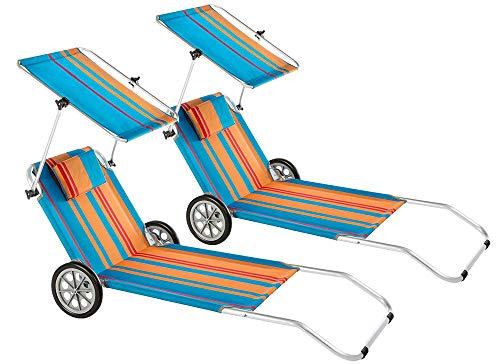 Baltico 2er Set Strandliege mit Sonnendach und Rädern Klappliege Sonnenliege Strandwagen Alu