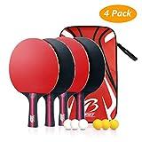 Tencoz 4Pack Raquettes de Tennis de Table, Set de ping-Pong Raquettes