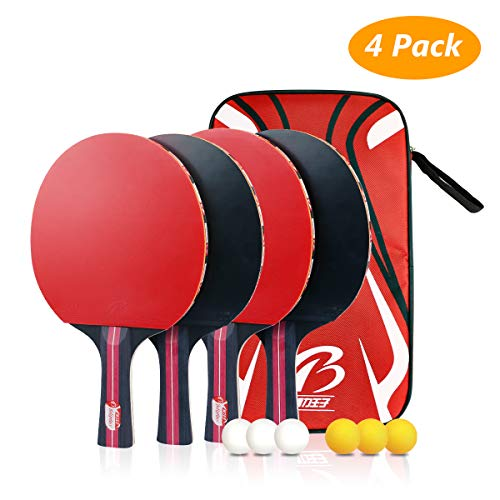 Tencoz Tischtennis Set, 4 Tischtennisschläger, 6 Tischtennis Bälle und 1 Tragetasche, Ping Pang Set Ideal für Anfänger, Familien und Profis